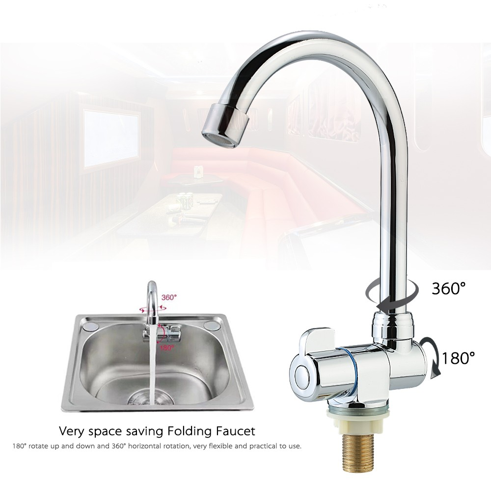 Rotating Single Handle Deck/Wall Mounted RV Kitchen Faucet Cold ...