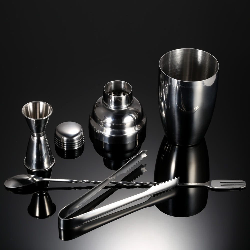 4pcs practical stainless steel cocktail shaker mixer set with jigger ice tong drink bartender. Black Bedroom Furniture Sets. Home Design Ideas