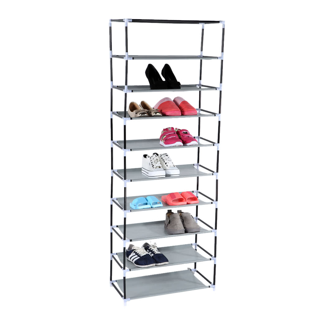 Multi Function Compositional 10 Tier 27 Pair Tower Shoe Rack Nonwoven Dustproof Shoes Cabinet Storage Racks