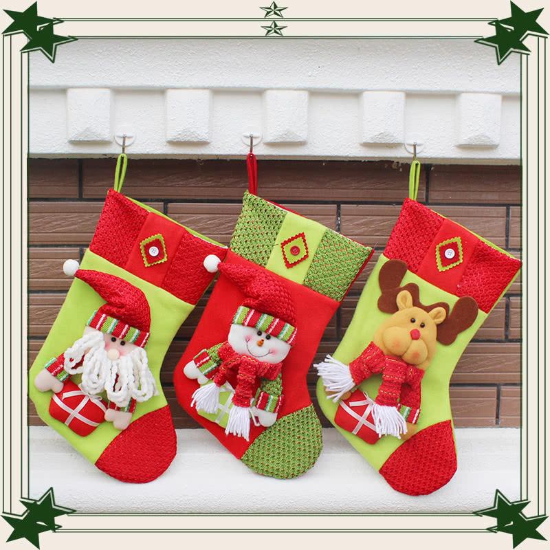 Festnight 3pcs Large Christmas Stockings Lovely Santa Claus Snowman ...