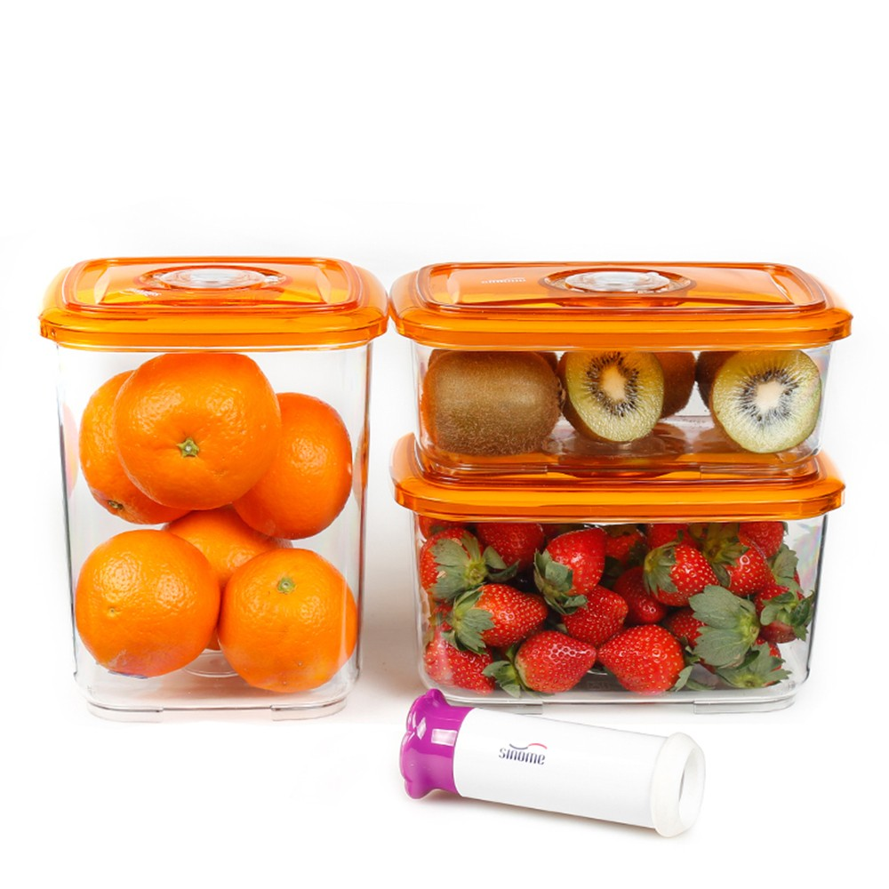 dry food storage containers. Sinome 3pcs/set Vacuum Sealed Food Storage Container With Handheld Pump Lids Dry Grain Tank Transparent Containers O