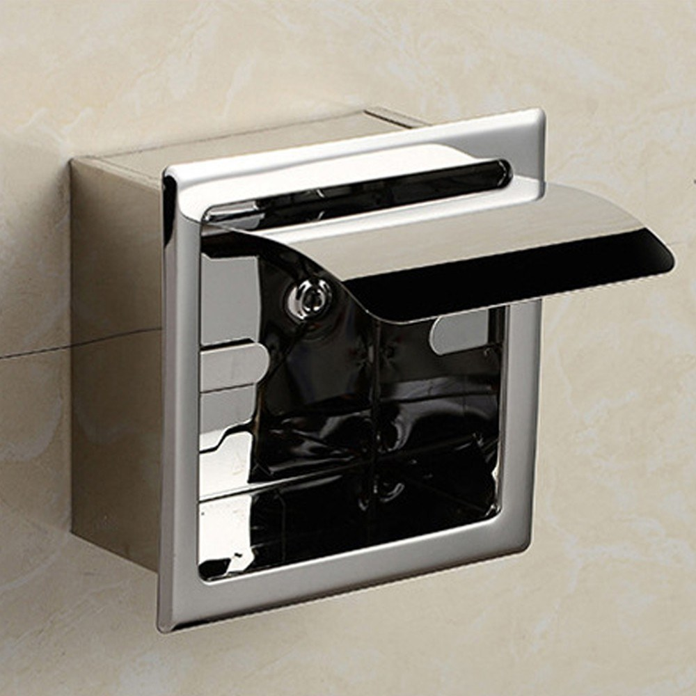 Stainless Steel Concealed Roll Paper Holder Bathroom Hardware Toilet ...