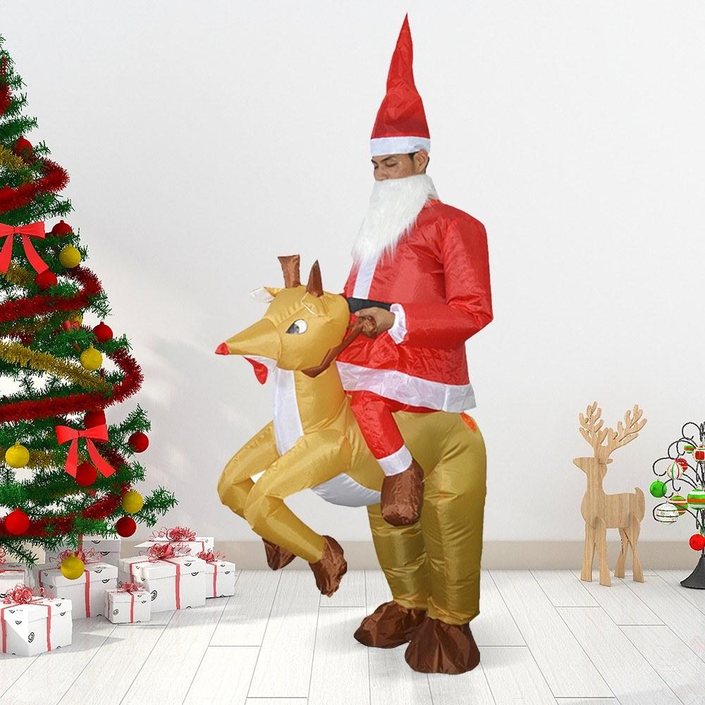 Adults Santa Riding Reindeer Inflatable Costume Suit Sales Online #1 ...