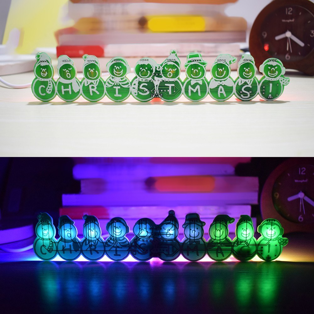 DIY Full Color LED Flashing Christmas Snowman Music Box Kit