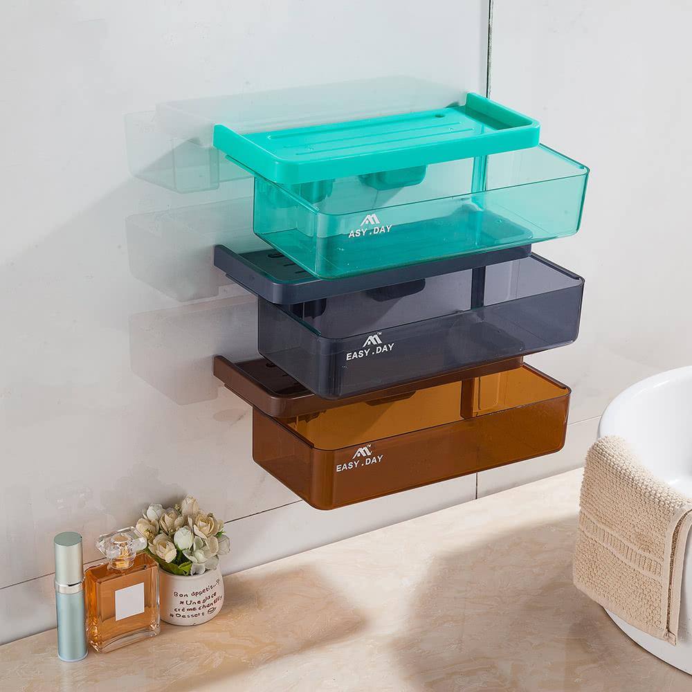 Plastic Wall Mounted Drawer Type Kitchen Bathroom Basket Storage Box ...