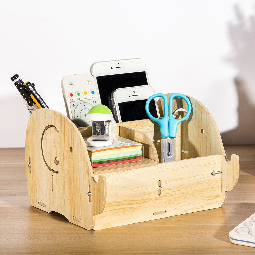 diy office supplies. DIY Multi-functional Wooden Desktop Remote Control Storage Box Organizer Caddy Mobile Phone Pen Office Supplies Holder Container--Light Wood Diy
