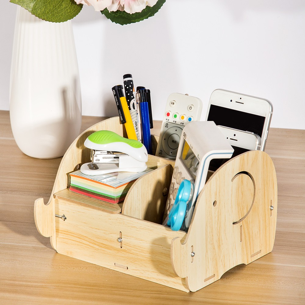 Diy Multi Functional Wooden Desktop Remote Control Storage Box Organizer Caddy Mobile Phone Pen Office Supplies Holder Container Light Wood