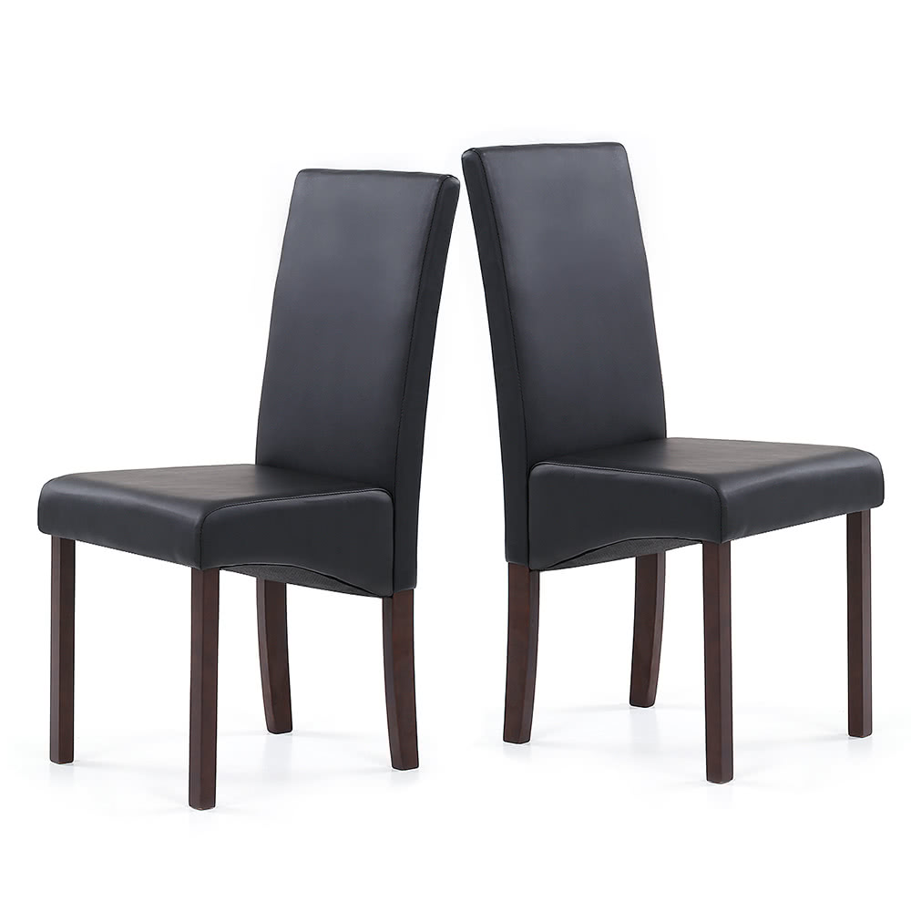 Ikayaa 2pcs set of 2 modern faux leather dining chairs for High back parsons chair
