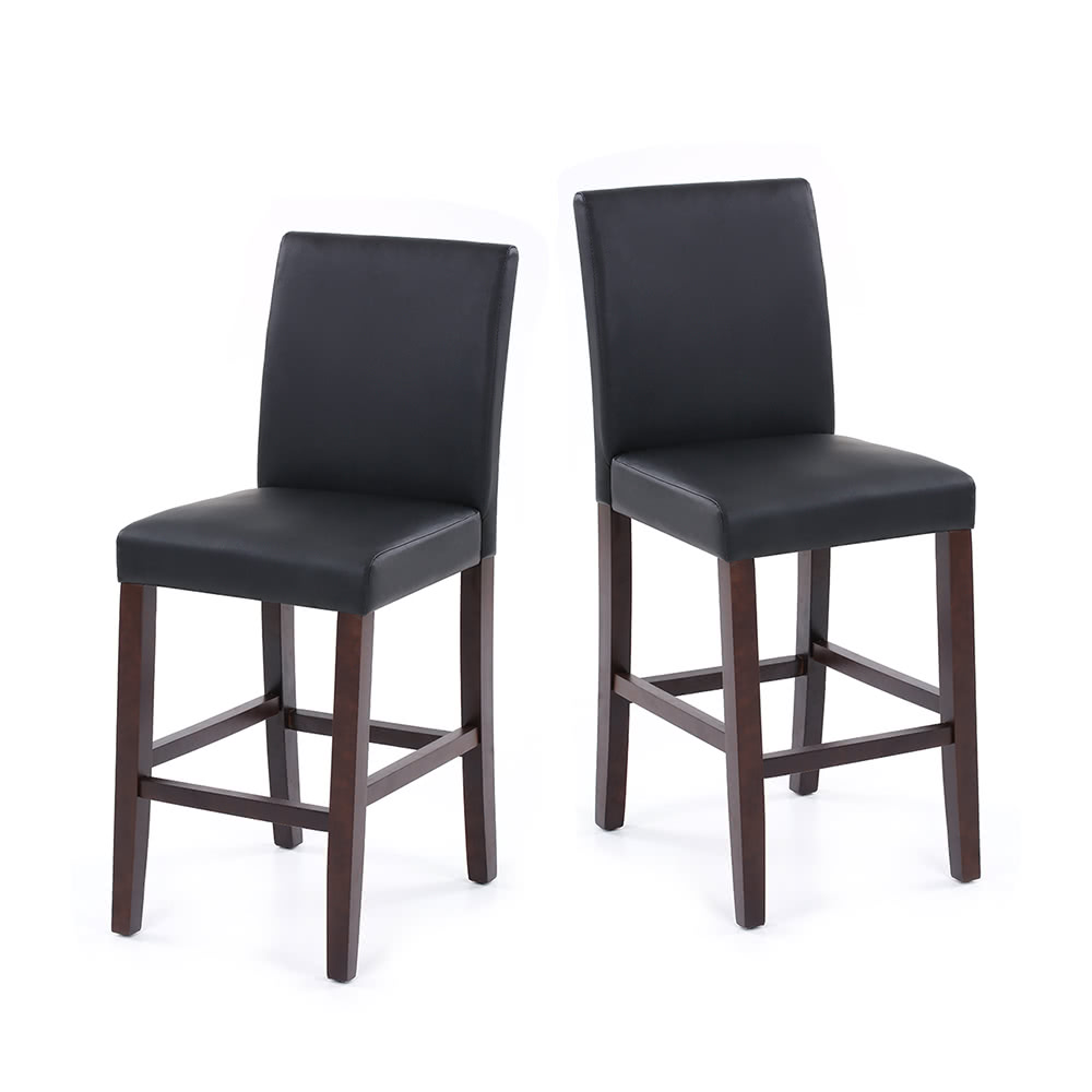 Ikayaa 2pcs Set Of 2 Modern Faux Leather Bar Pub Dining