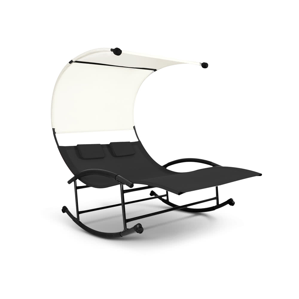 ikayaa outdoor double chaise rocker w canopy textilene garden pool double lounge chair bed. Black Bedroom Furniture Sets. Home Design Ideas