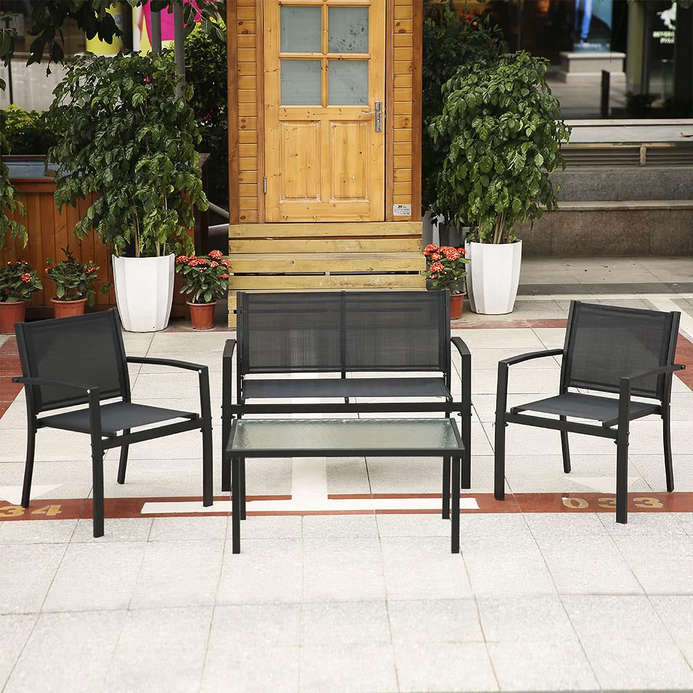 Ikayaa 4pcs patio muebles de jard n conjunto porche sof for Muebles porche