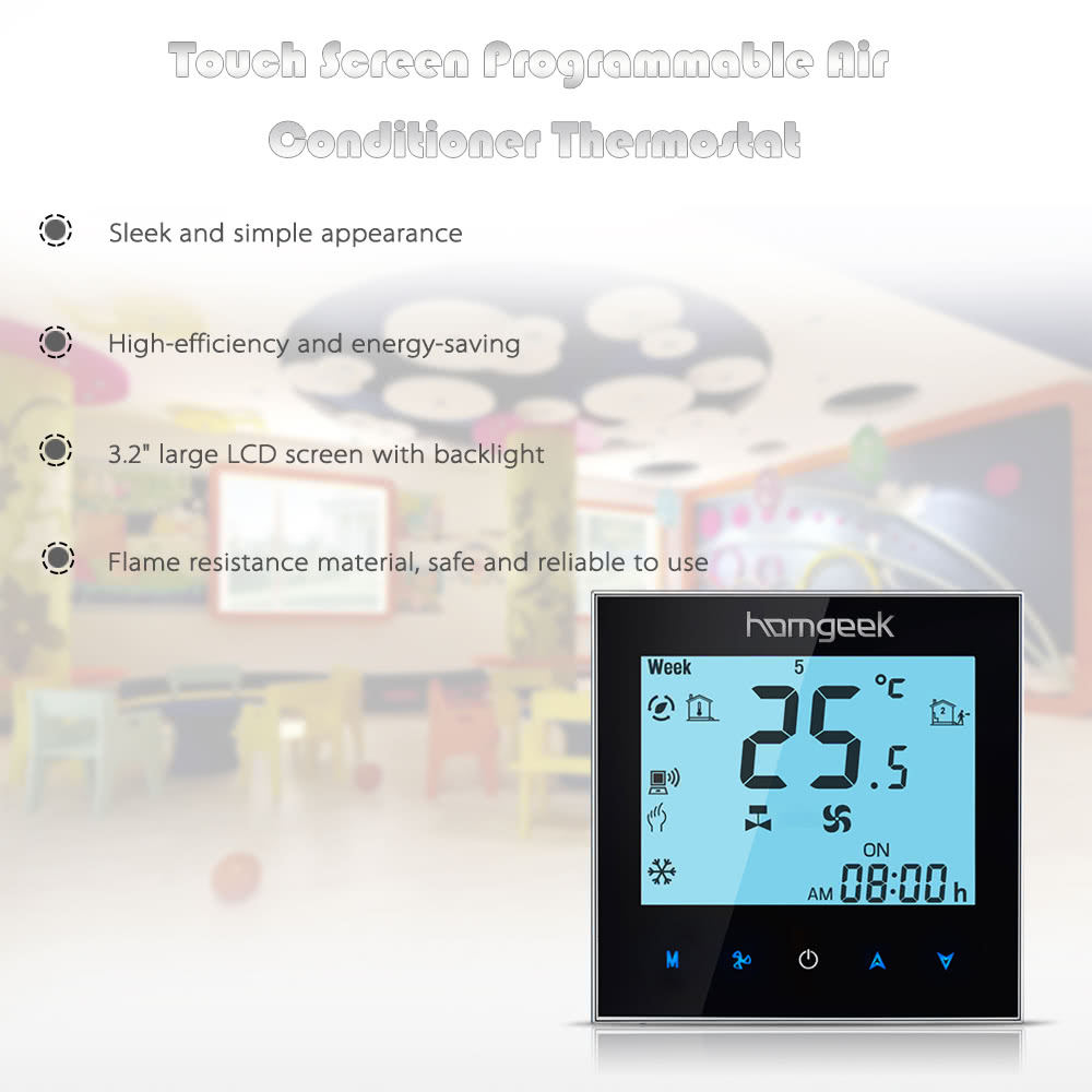 Homgeek 110240v Air Conditioner 2 Pipe Thermostat With Lcd Display Good Quality Touch Screen Programmable Room Temperature Controller Home Improvement