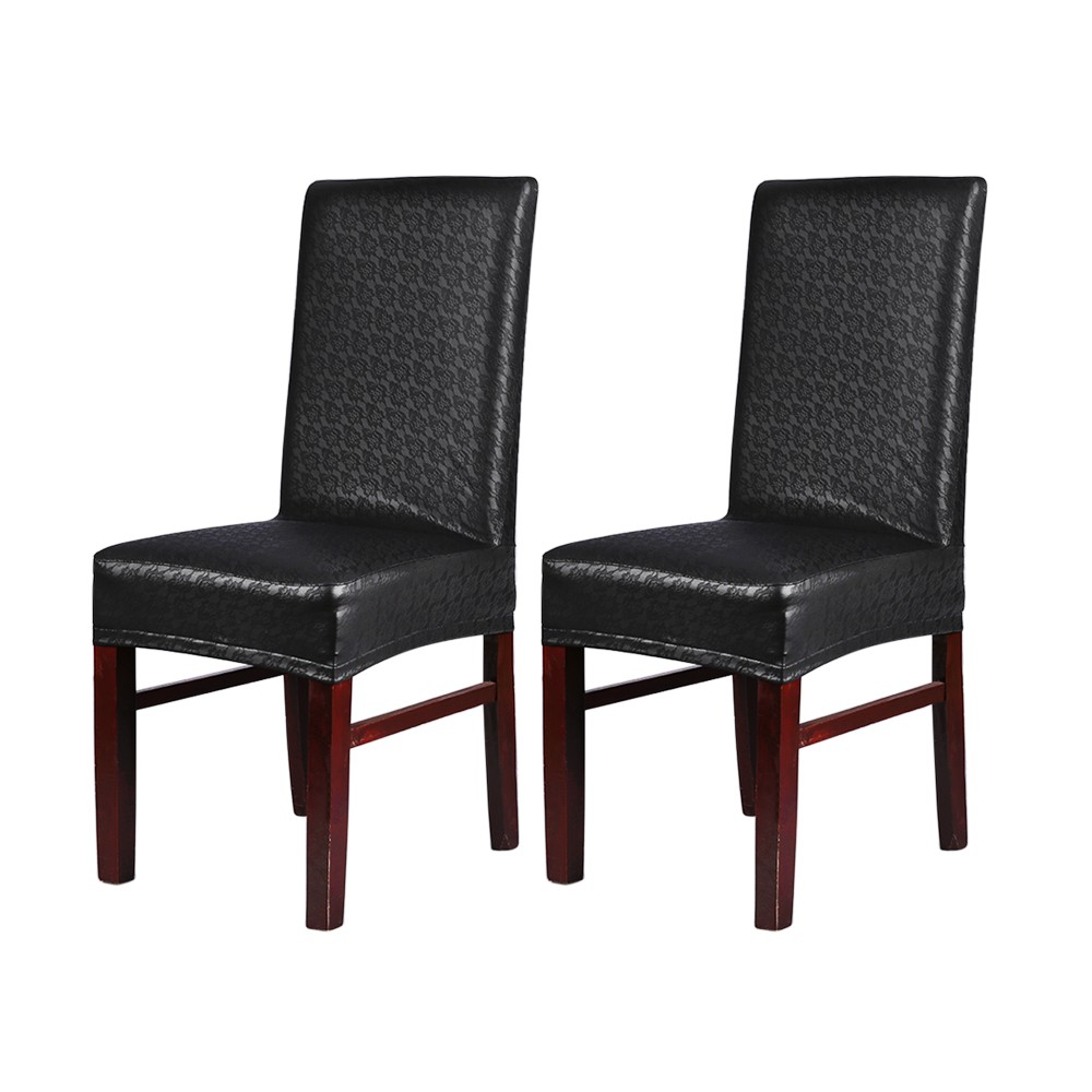 Plastic Dining Room Chair Covers: 2pcs One-piece PU Leather Lace Pattern Dining Chair Seat
