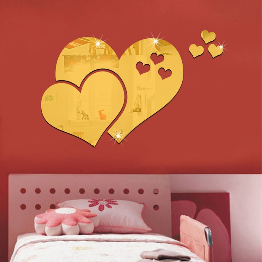 Acrylic Mirror Wall Sticker Heart Shaped Living Room Bedroom Decal Decoration Reflecting Fashionable L And Stick S Black