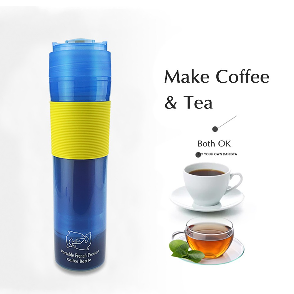 300ml Coffee Pot Outdoor Travel Vacuum Plunger Bottle Portable Leak Proof Mug With Filter