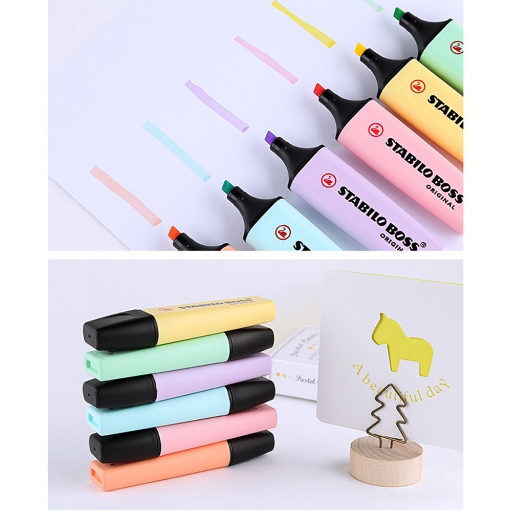 1 pc Stabilo Boss Pastel Color Highlighter Soft Color Writing Marker Chisel Nib Pen