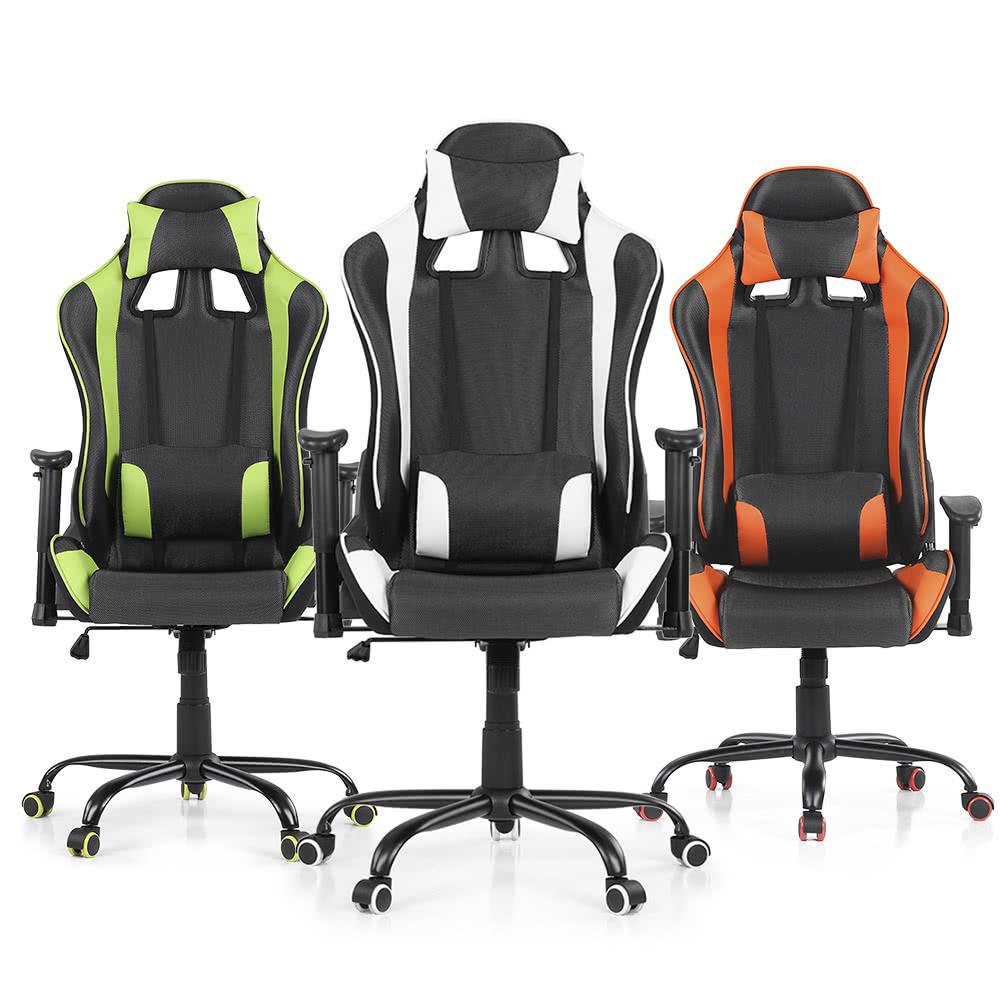 Ikayaa Ergonomic Racing Style Gaming Office Chair Swivel Executive Computer Bucket Seat W Recline Height Armrest Adjule Tilt Function Head