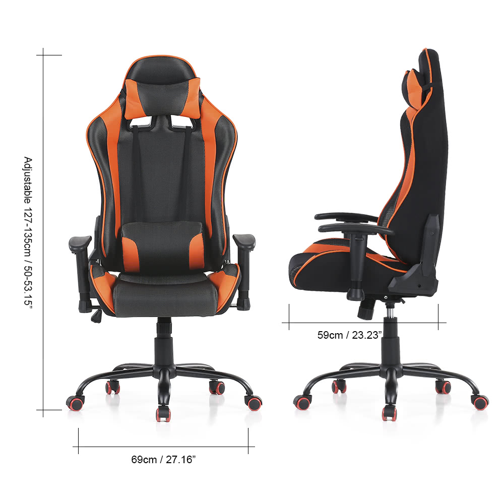 Ikayaa Ergonomic Racing Style Gaming Office Chair Swivel Executive Computer Bucket Seat W Recline Height Armrest Adjule Tilt Function Head
