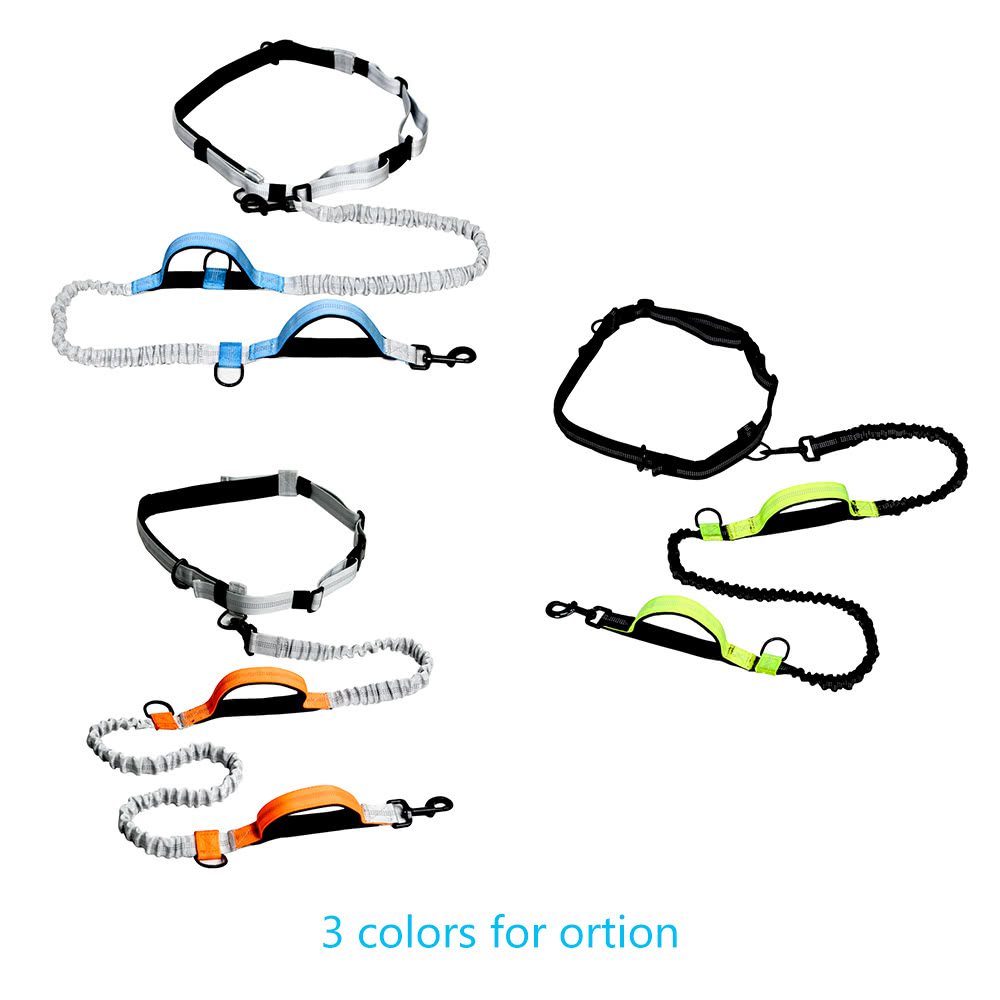 outdoor retractable hands free nylon dog leash pet strap lead safety traction rope with shock