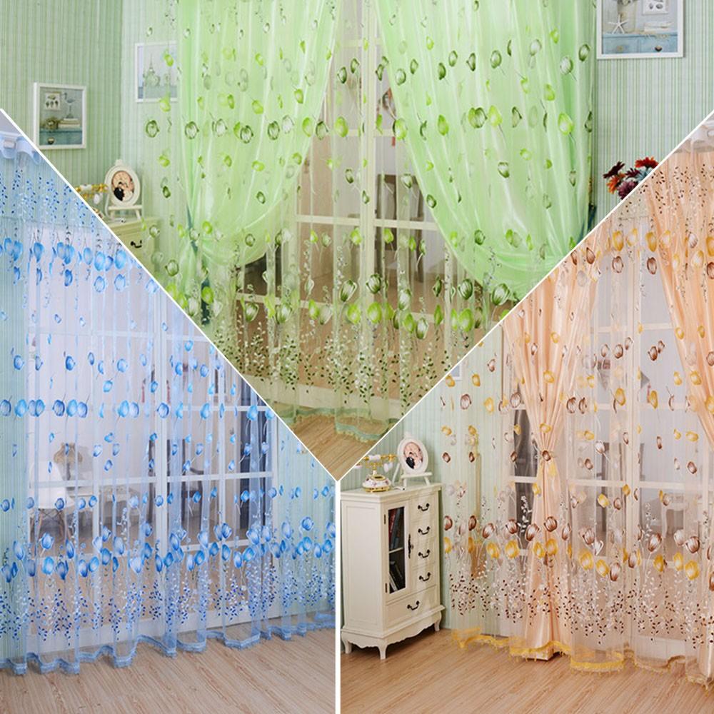 2pcs 1 m 2 m elegante ventana puerta cortinas sheer gasa for Hogar textil decoracion