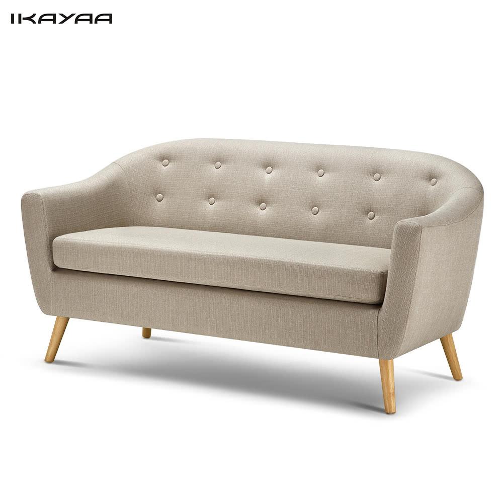 ikayaa mid century leinengewebe tufted 3 sitzer sofa couch polster wohnzimmer lounge sofa m bel. Black Bedroom Furniture Sets. Home Design Ideas