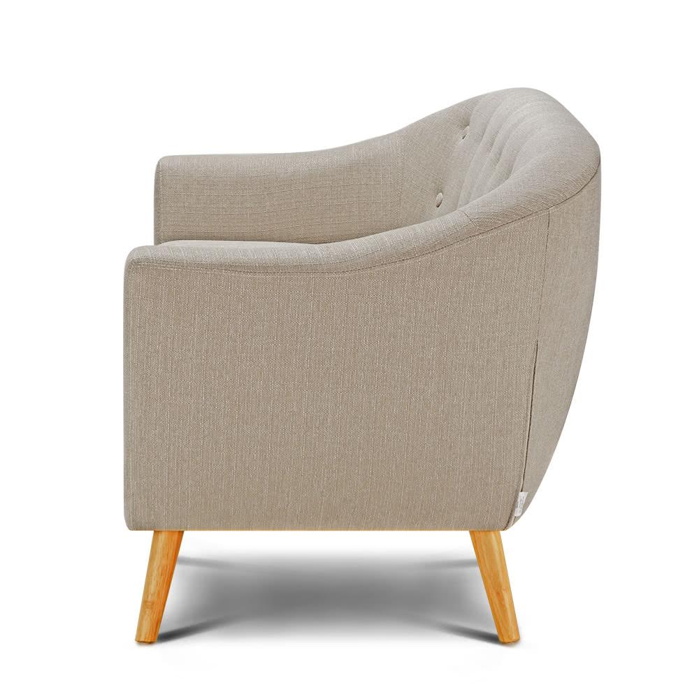 ikayaa mid century leinengewebe tufted 3 sitzer sofa couch. Black Bedroom Furniture Sets. Home Design Ideas