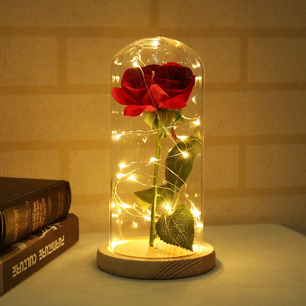 Floral Decor Beauty and the Beast Red Rose Fallen Petals in a Glass LED Gift