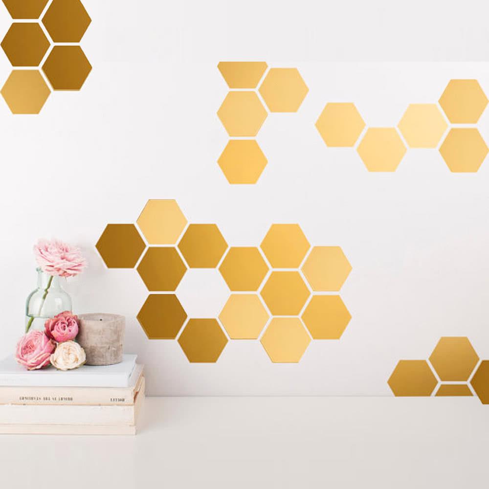 12Pcs Hot Sale Modern Design Adhesive Hexagonal 3D DIY Acrylic Wall ...