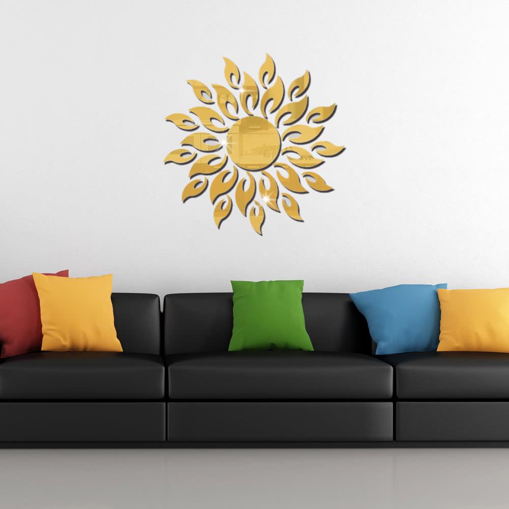 Acrylic Wall Mirror Stickers Mirror Decal Sunshine Fire Room Bedroom