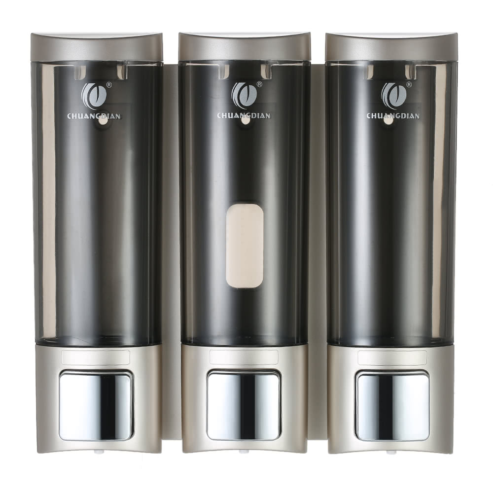 Chuangdian manual soap dispensers wall mounted three chamber shampoo box shampoo shower gel - Wall mounted shampoo and conditioner dispenser ...