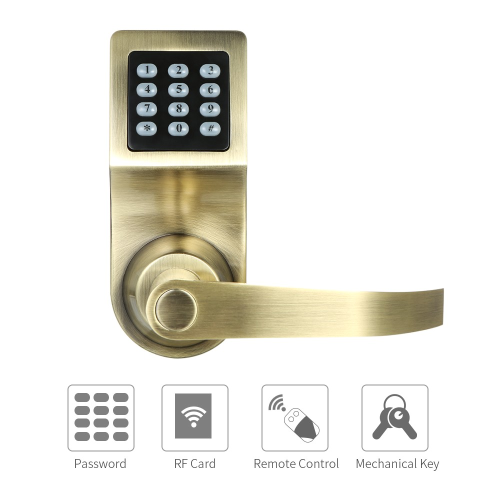 4 in 1 electronic keyless keypad door coded lock unlocked by 1 front lock plate 1 back lock plate 1 single latch 1 remote control 1 strike plate 1 plastic strike plate case 1 sucker 2 keyfobs sciox Image collections