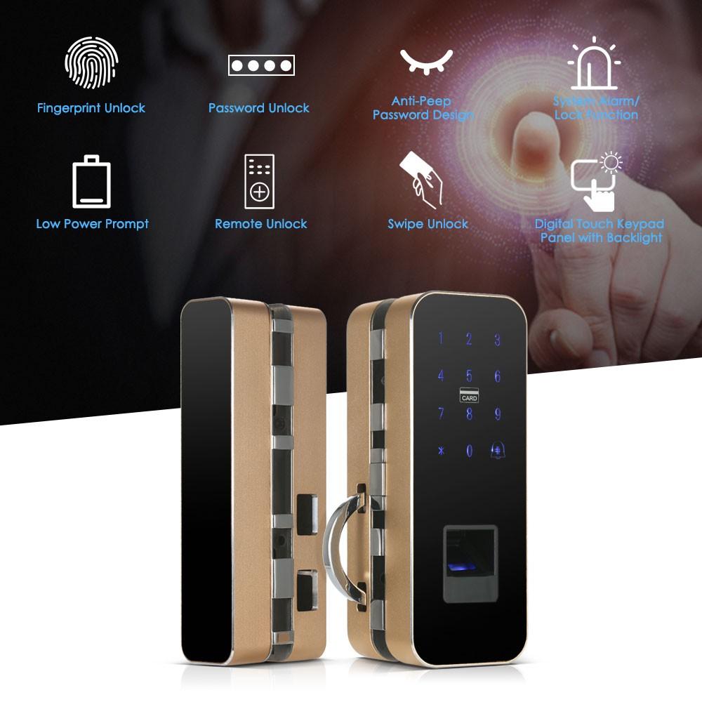 Electronic Smart Glass Door Lock Fingerprint/Password/Swipe/Remote Unlock  Intelligent Keyless Lock for Single/Double Doors--Gold Sales Online gold -