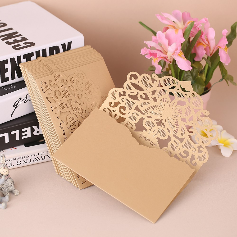 20pcsset wedding invitation cards pearl paper laser cut hollow 20pcsset wedding invitation cards pearl paper laser cut hollow butterfly pattern invitation cards kit pink sales online champagne tomtop stopboris Image collections