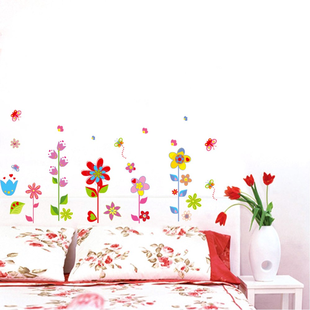 Beautiful flowers floral butterfly diy wall stickers for Butterfly mural wallpaper