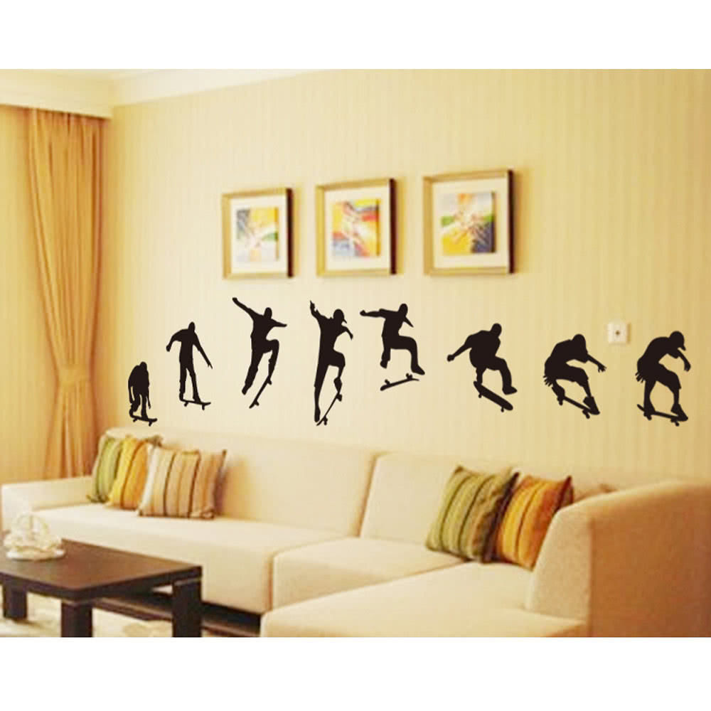Skateboard sports cool life simple black diy wall stickers sales skateboard sports cool life simple black diy wall stickers wallpaper art decor mural room decal amipublicfo Images
