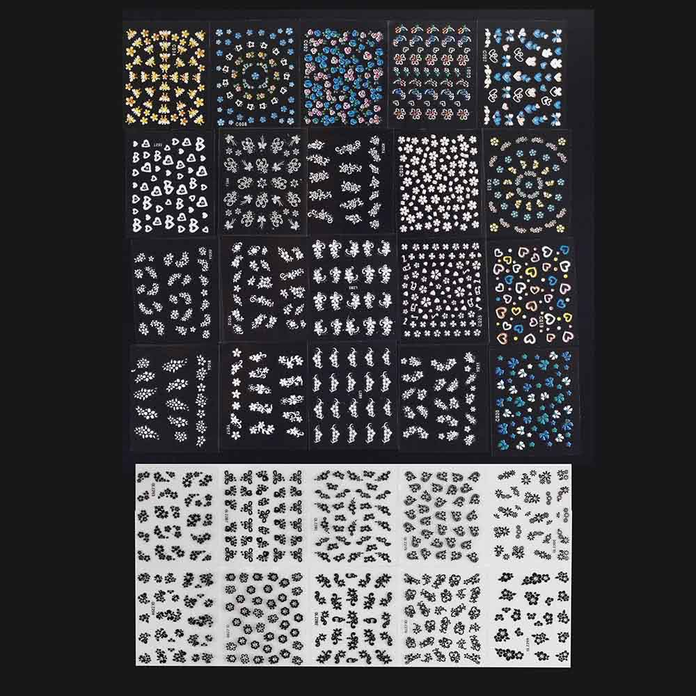 30 sheet 3d mix color floral design nail art stickers decals sales 30 sheet 3d nail art stickers prinsesfo Choice Image
