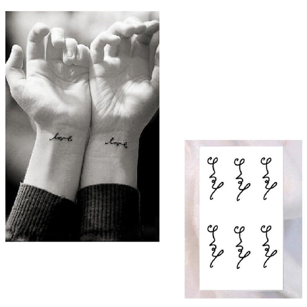 Tattoo Sticker Love Letters Pattern Waterproof Temporary