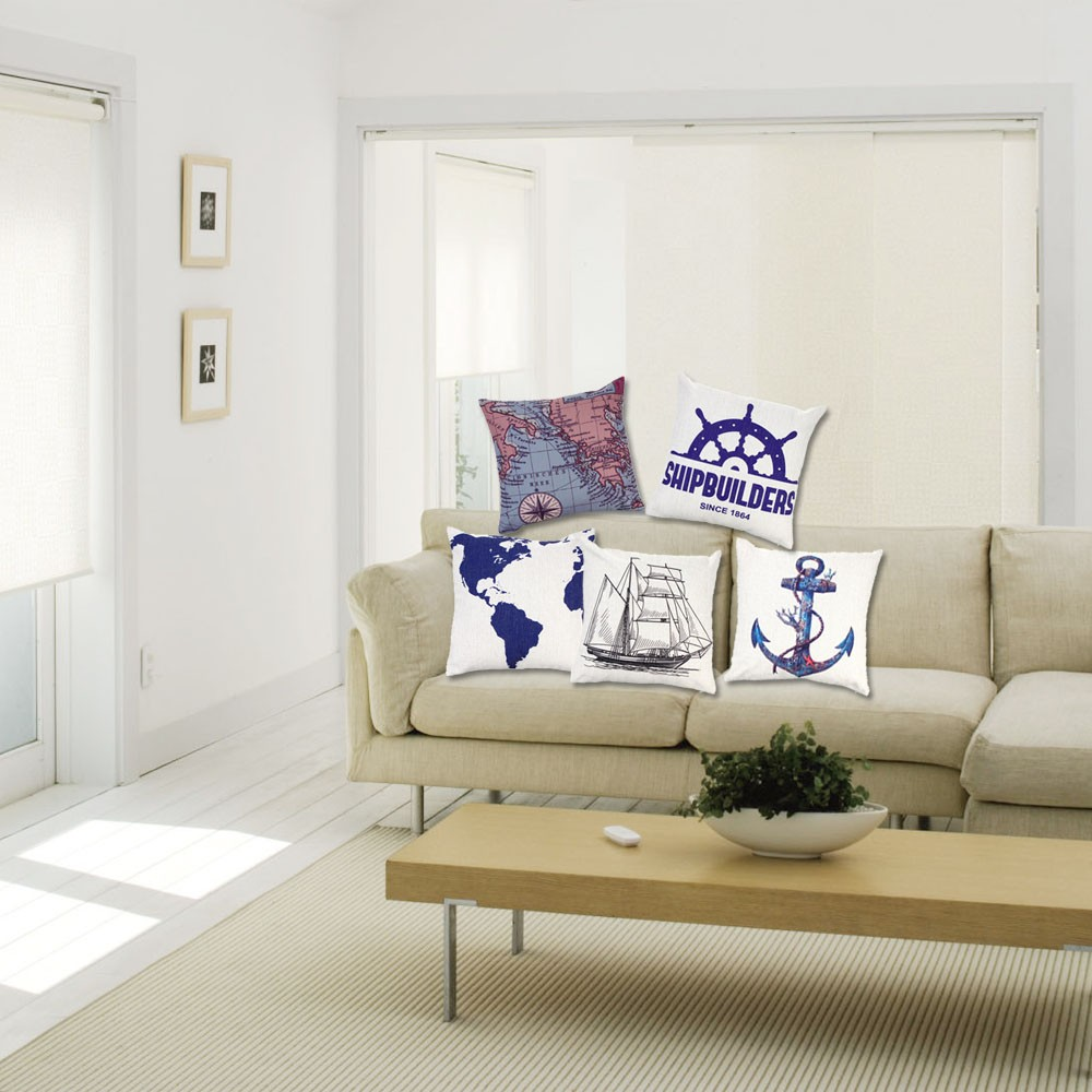 d 39 ancrage voilier carte coton et taie d 39 oreiller lin coussin housse oreiller throw pour lit. Black Bedroom Furniture Sets. Home Design Ideas