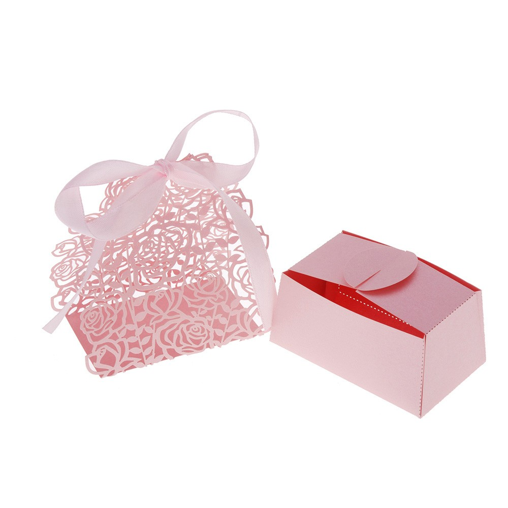 12Pcs Romantic Rose DIY Candy Cookie Gift Favor Box for Wedding ...