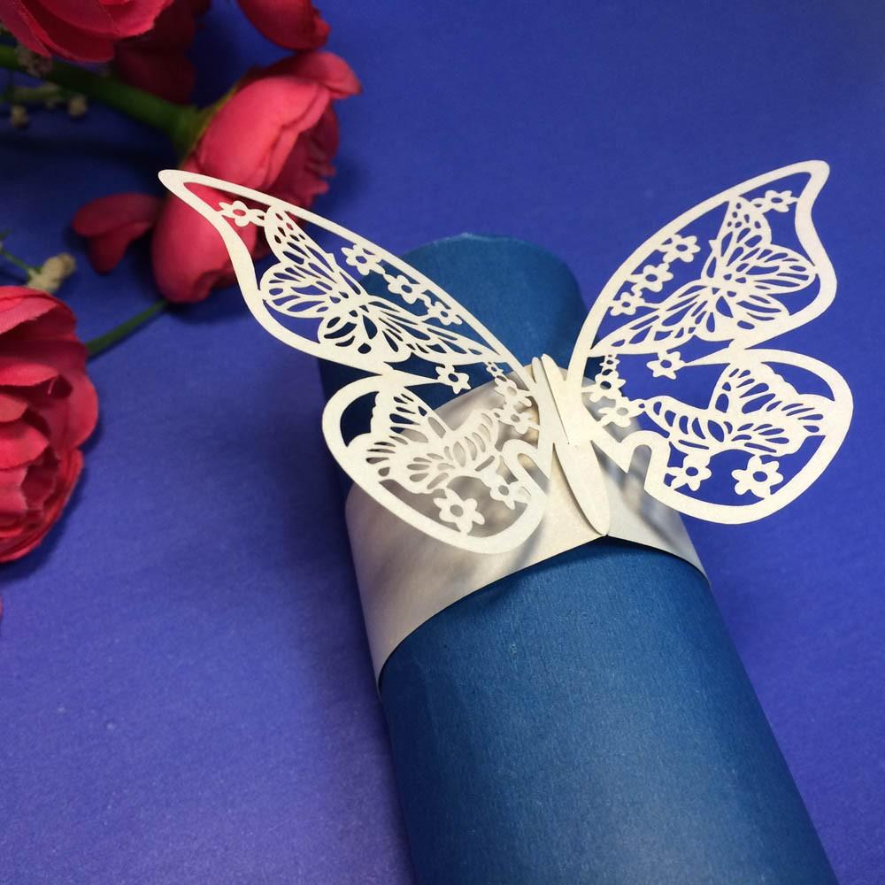 12pcs elegant white butterfly paper napkin ring holder - Decor union 2000 ...