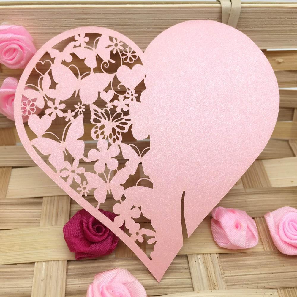 Anself 20Pcs tarjeta de boda de nombre rosa romántico corazón ...