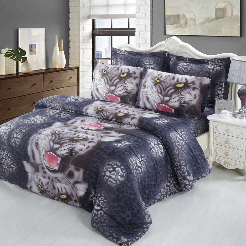 4pcs 3D Printed Bedding Set Bedclothes Black Tiger Queen/King Size Duvet  Cover+Bed Sheet+2 Pillowcases Sales Online Blue   Tomtop