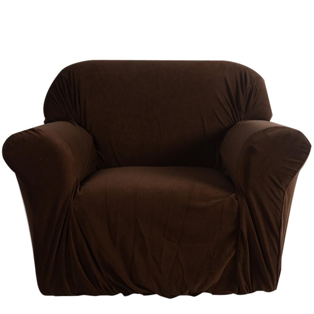 haute qualit lastique doux polyester spandex housse canap canap couverture 1 places brun 80. Black Bedroom Furniture Sets. Home Design Ideas