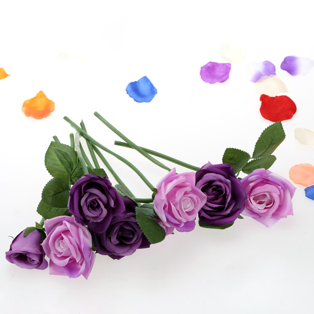 9pcs Artificial Blooming Rose Silk Flowers Bouquet Simulation