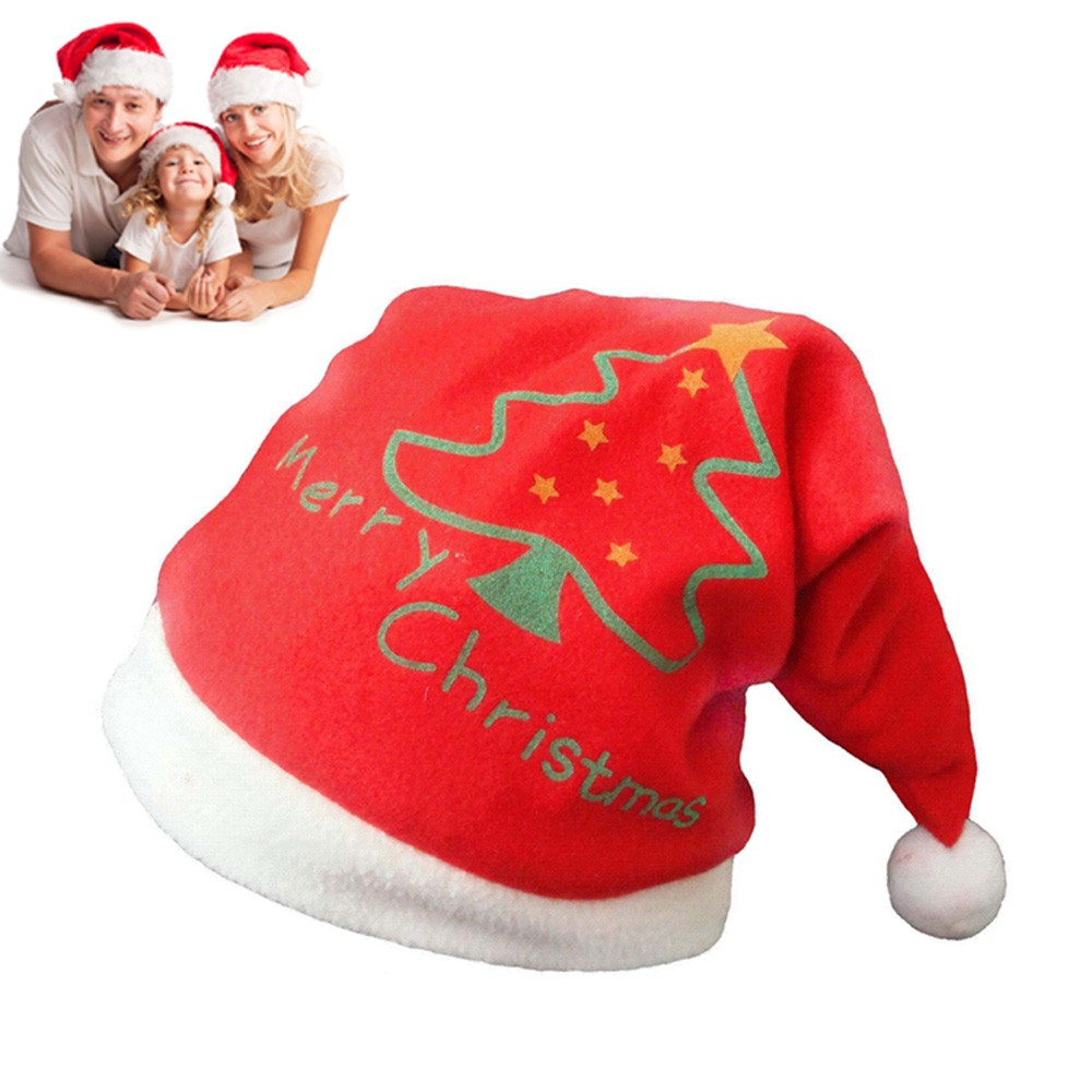 Red christmas hat green tree pattern for adults