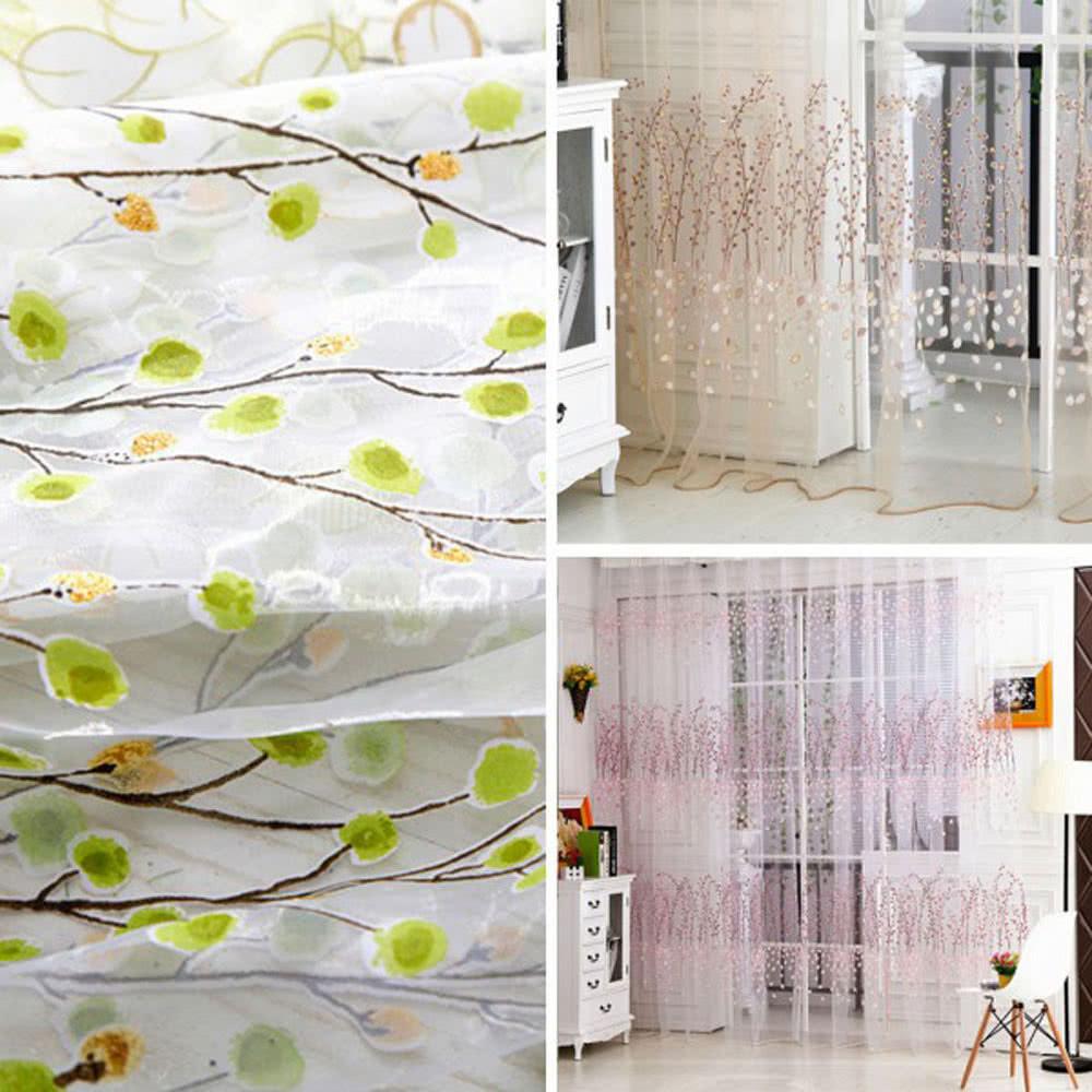 wintersweet pattern half shading curtain for door window roo