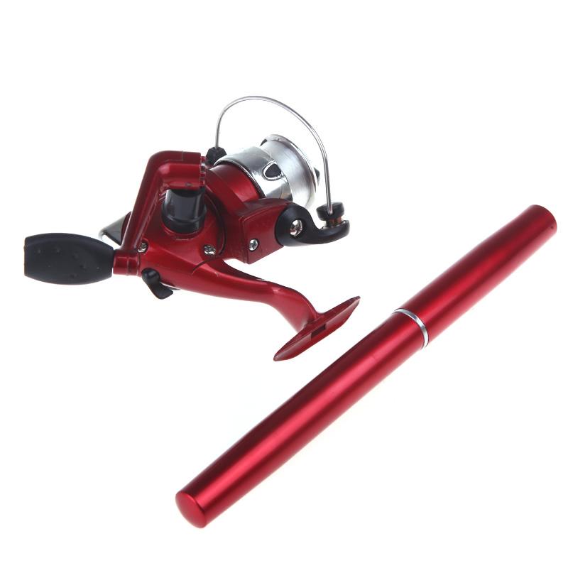 Mini aluminum pocket pen fishing rod pole reel red us for Pocket fishing rod
