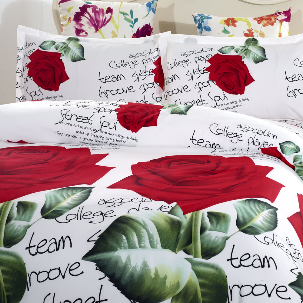 4pcs 3d Printed Bedding Set Bedclothes Red Rose In Full