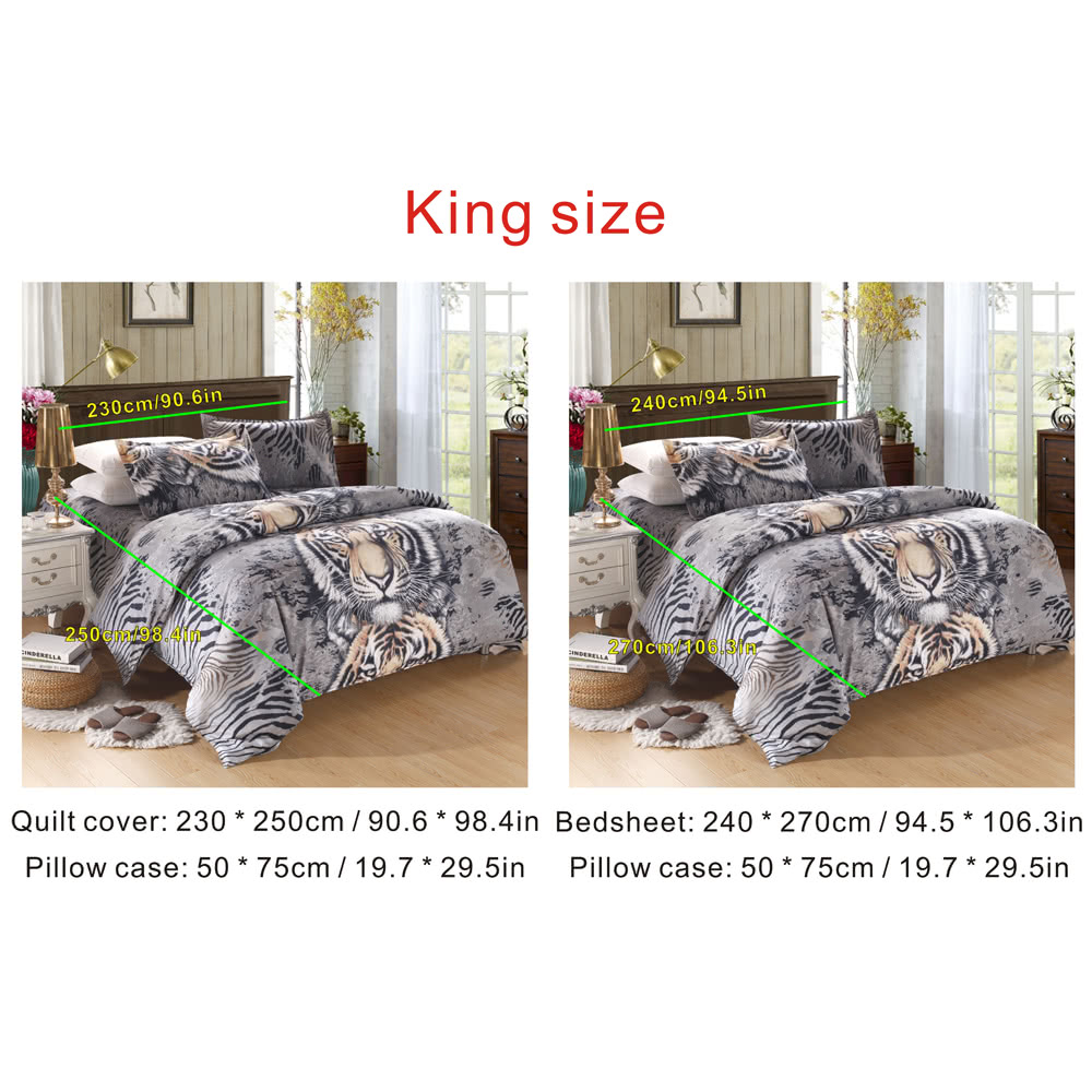 Tiger motif 4pcs 3d imprim ensemble de literie linge de for Housse de couette king size