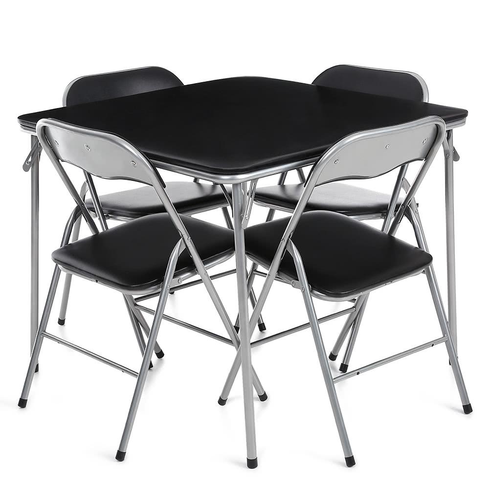 ikayaa 5pcs metall falten k che speisetisch stuhl set m bel multifunktions outdoor camping. Black Bedroom Furniture Sets. Home Design Ideas